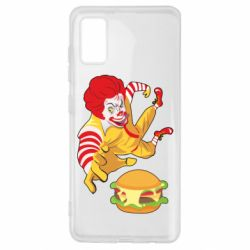 Чехол для Samsung A41 Clown in flight with a burger