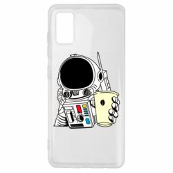 Чехол для Samsung A41 Cosmonaut with a coffee