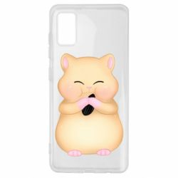 Чохол для Samsung A41 Cute hamster with sunflower seed