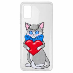 Чехол для Samsung A41 Cute kitten with a heart in its paws