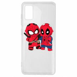 Чехол для Samsung A41 Дэдпул и Человек паук