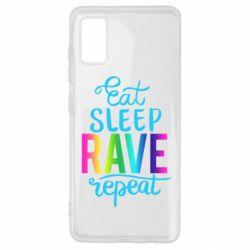 Чохол для Samsung A41 Eat, sleep, RAVE, repeat