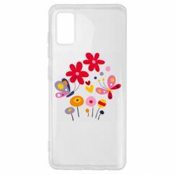 Чехол для Samsung A41 Flowers and Butterflies