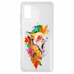 Чехол для Samsung A41 Fox in autumn leaves