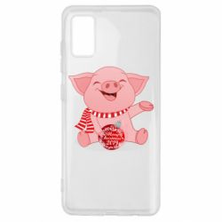 Чохол для Samsung A41 Funny pig with a Christmas toy