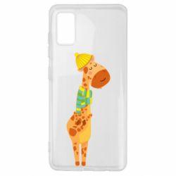 Чехол для Samsung A41 Giraffe in a scarf