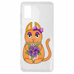 Чехол для Samsung A41 Girl cat with flowers