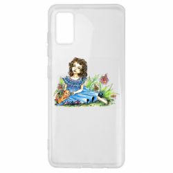Чехол для Samsung A41 Girl with a kitten in flowers