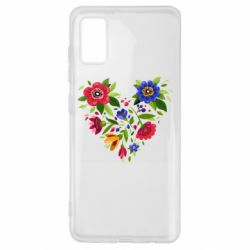 Чехол для Samsung A41 Heart made of flowers vector