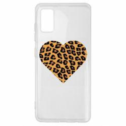 Чехол для Samsung A41 Heart with leopard hair