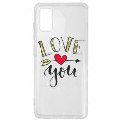 Чохол для Samsung A41 I love you and heart