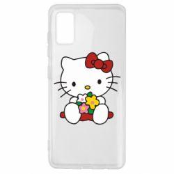 Чехол для Samsung A41 Kitty с букетиком