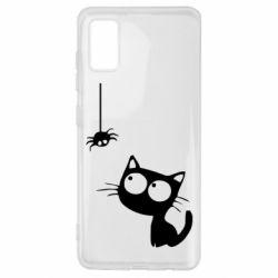 Чехол для Samsung A41 Котик и паук