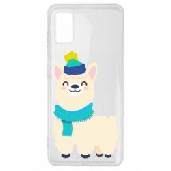 Чехол для Samsung A41 Llama in a blue hat