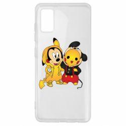 Чехол для Samsung A41 Mickey and Pikachu