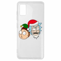 Чехол для Samsung A41 New Year's Rick and Morty
