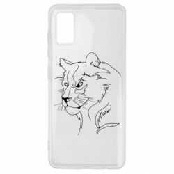 Чехол для Samsung A41 Outline drawing of a lion
