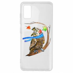 Чехол для Samsung A41 Owl with a watercolor scarf