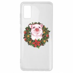 Чохол для Samsung A41 Pig with a Christmas wreath