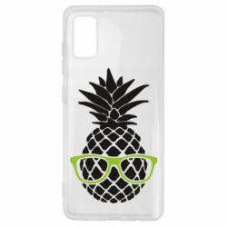 Чехол для Samsung A41 Pineapple with glasses