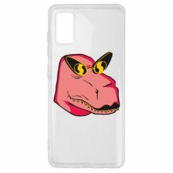 Чохол для Samsung A41 Pink dinosaur with glasses head
