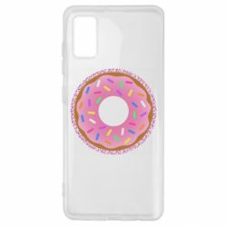 Чохол для Samsung A41 Pink donut on a background of patterns