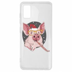 Чохол для Samsung A41 Portrait of the pink Pig in a red Santa's cap
