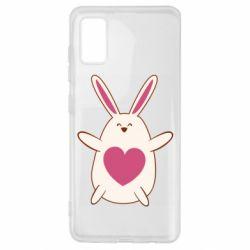 Чехол для Samsung A41 Rabbit with a pink heart