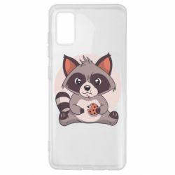 Чохол для Samsung A41 Raccoon with cookies