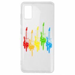 Чехол для Samsung A41 Разноцветные гитары