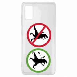 Чохол для Samsung A41 Sign with a dinosaur with a gun and flowers