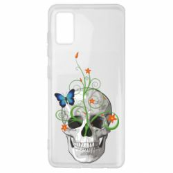 Чехол для Samsung A41 Skull and green flower