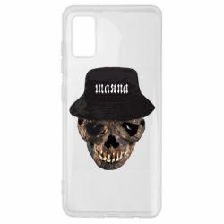 Чехол для Samsung A41 Skull in hat and text