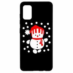 Чехол для Samsung A41 Снеговик в шапке