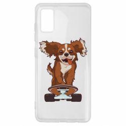 Чехол для Samsung A41 Собака Кавалер на Скейте