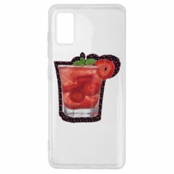 Чехол для Samsung A41 Strawberry cocktail on a background of flowers