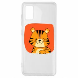 Чехол для Samsung A41 Striped tiger with smile