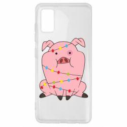 Чохол для Samsung A41 Свиня обмотана гірляндою