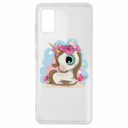 Чохол для Samsung A41 Unicorn with flowers