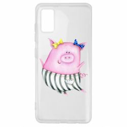 Чехол для Samsung A41 Watercolor Pig with paper texture