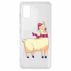 Чехол для Samsung A41 Yellow llama in a scarf and red nose