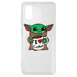 Чехол для Samsung A41 Yoda and a mug with the inscription I love coffee