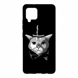 Чохол для Samsung A42 5G Black and white cat intellectual