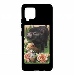 Чохол для Samsung A42 5G Black pig and flowers