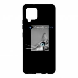 Чохол для Samsung A42 5G Butterfly and cat with blur effect
