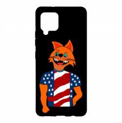 Чехол для Samsung A42 5G Cat in American Flag T-shirt