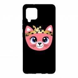 Чехол для Samsung A42 5G Cat pink