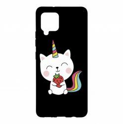 Чохол для Samsung A42 5G Cat unicorn and strawberries