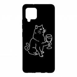 Чохол для Samsung A42 5G Cat with a glass of wine