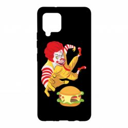 Чехол для Samsung A42 5G Clown in flight with a burger